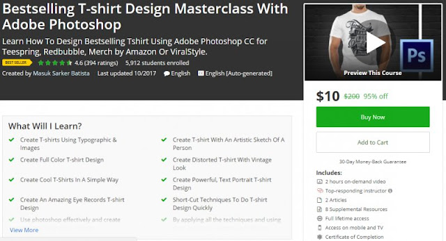 [95% Off] Bestselling T-shirt Design Masterclass With Adobe Photoshop| Worth 200$