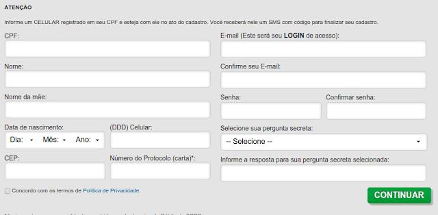 Formulário para consultar o nome sujo