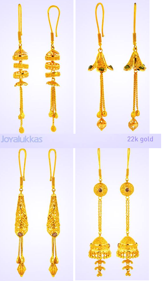 Joyalukkas 22k gold earrings with hanging chains Latest