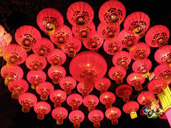 Large Circle of Hanging Red Lanterns