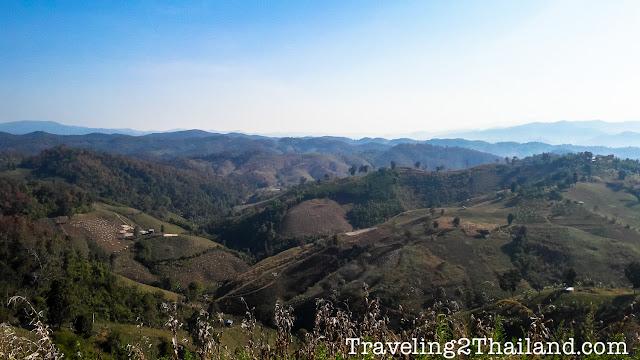 View over the mountains bordering Laos in Nan - Thailand