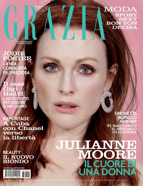 Actress, @ Julianne Moore Glitters In Chopard, Lensed By David Roemer For Grazia Italy