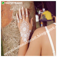 waterproof white henna design