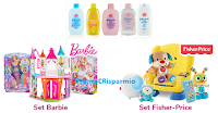 Logo Johnson&Johnson ''Regali da sogno'': vinci kit Fisher Price e Barbie, omaggi e coupon e buoni spesa da 25€