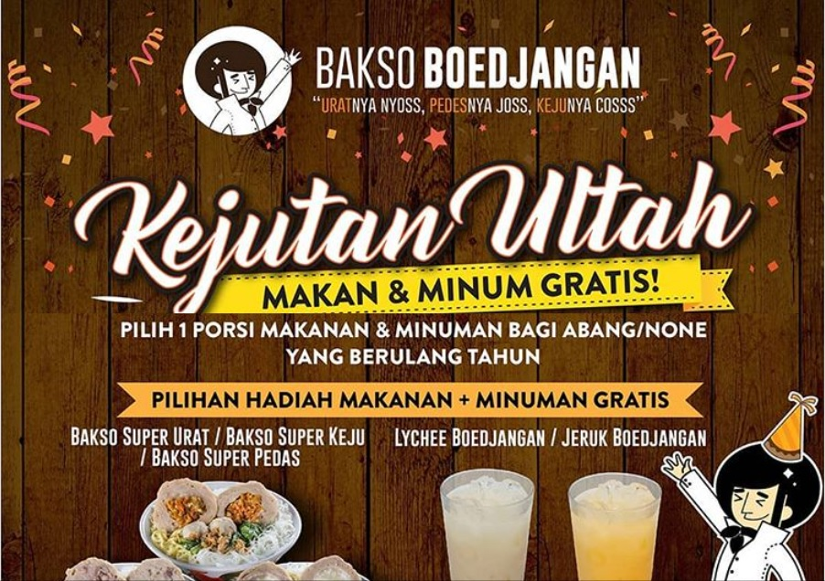 Promo Makan Gratis Bagi Yang Sedang Berulang Tahun di Bakso Boedjangan Berlaku Sampai Desember 2018