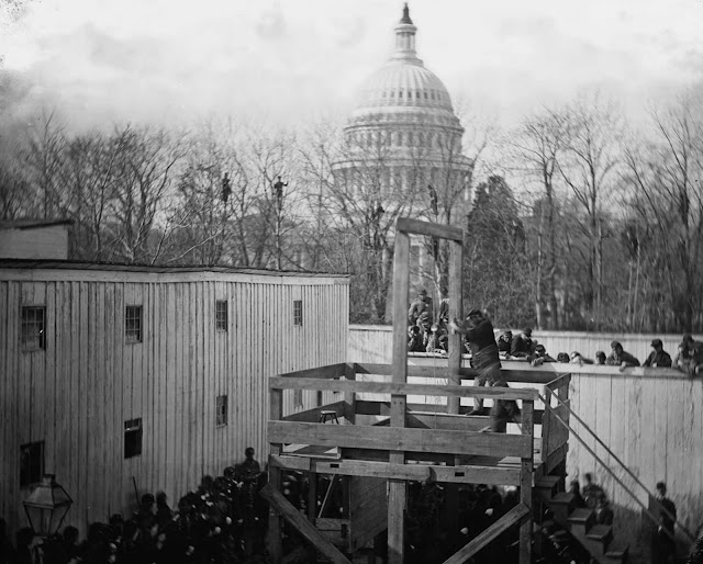 An execution in Washington, District of Columbia, on November 10, 1865. Henry Wirz, former commander of the Confederate prisoner of war camp near Andersonville, Georgia, was tried and hung after the war for conspiracy and murder related to his command of the notorious camp.