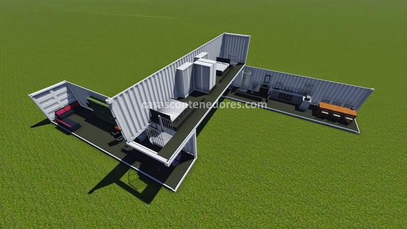 Casas contenedores dise o de casa con 3 containers de 40 pies for Diseno de oficinas con contenedores