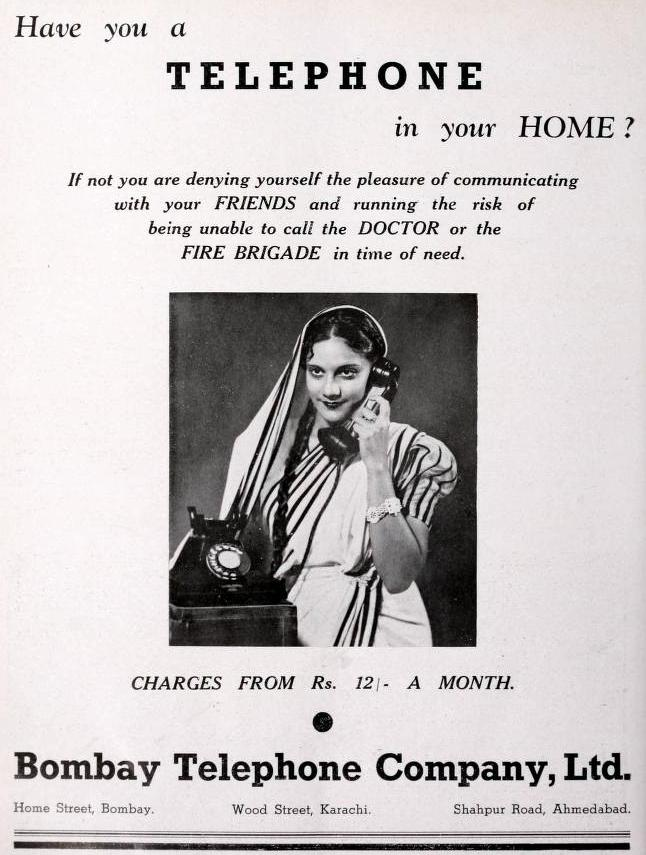 Bombay Telephone Co Ltd 1938 Advertisement