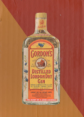 gordon's gin vintage bottle ad flag Dada Mail art collage gold and maroon