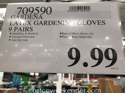Deal for 9 pairs of Gardena Latex Gardening Gloves at Costco