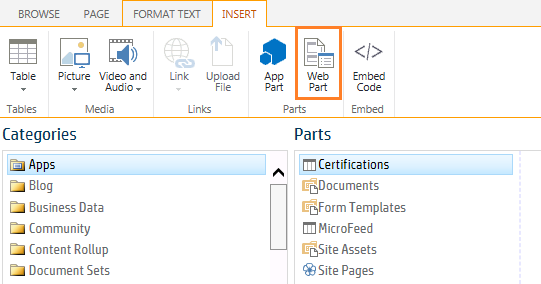 Add Chart web part in SharePoint 2013