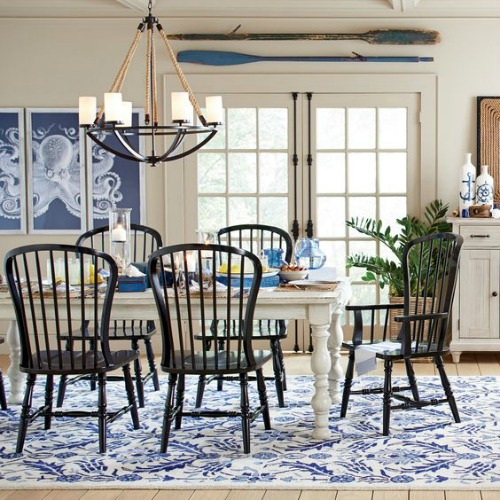 Blue and Black Dining Room Coastal Nautical Decor Idea