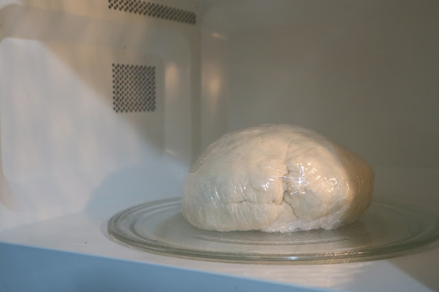 ball of green onion dough wrapped up and placed in an air tight location