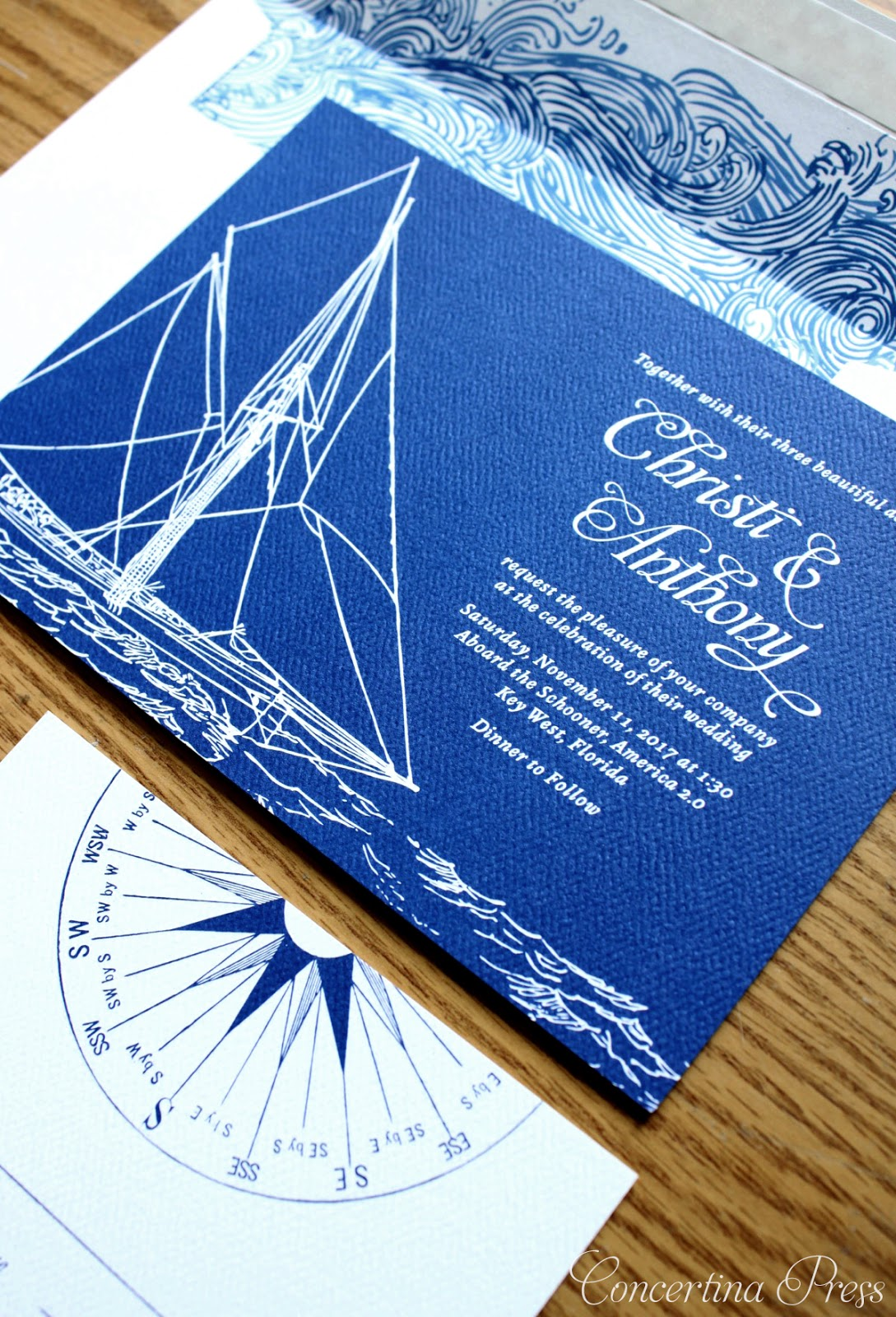 Yacht Wedding Invitations for a wedding on Key West from Concertina Press