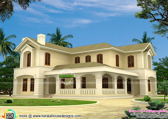 Mix roof Colonial style house