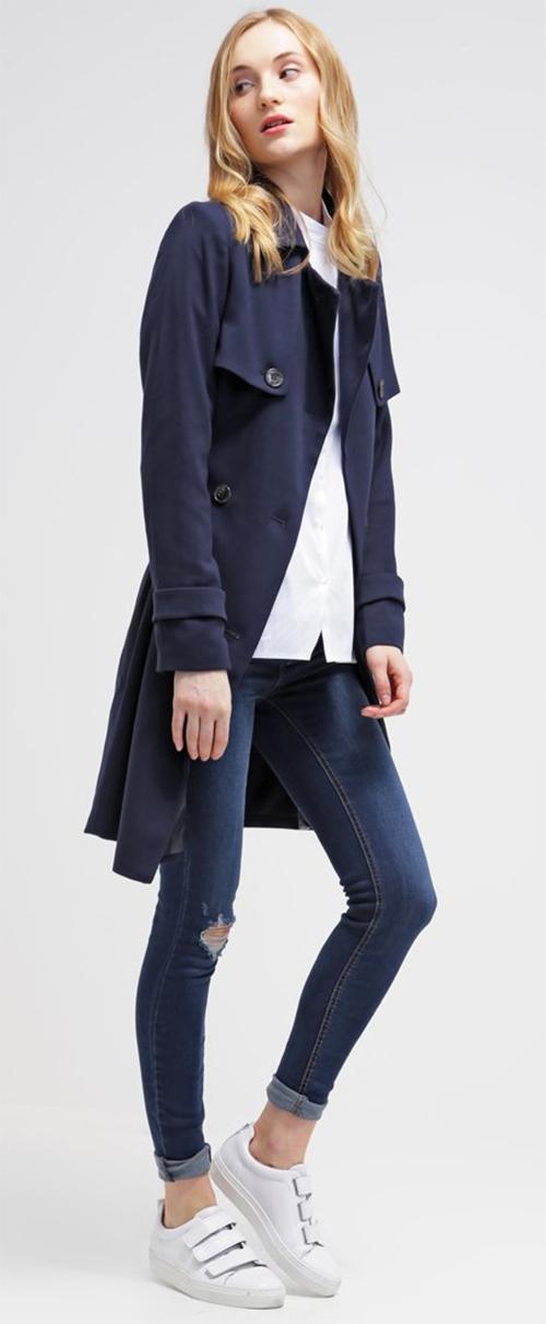 Trench-coat femme bleu KIOMI