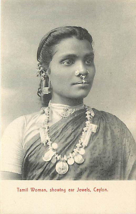 Portrait of a Tamil Woman showing various Jeweleries - Ceylon (Sri Lanka)