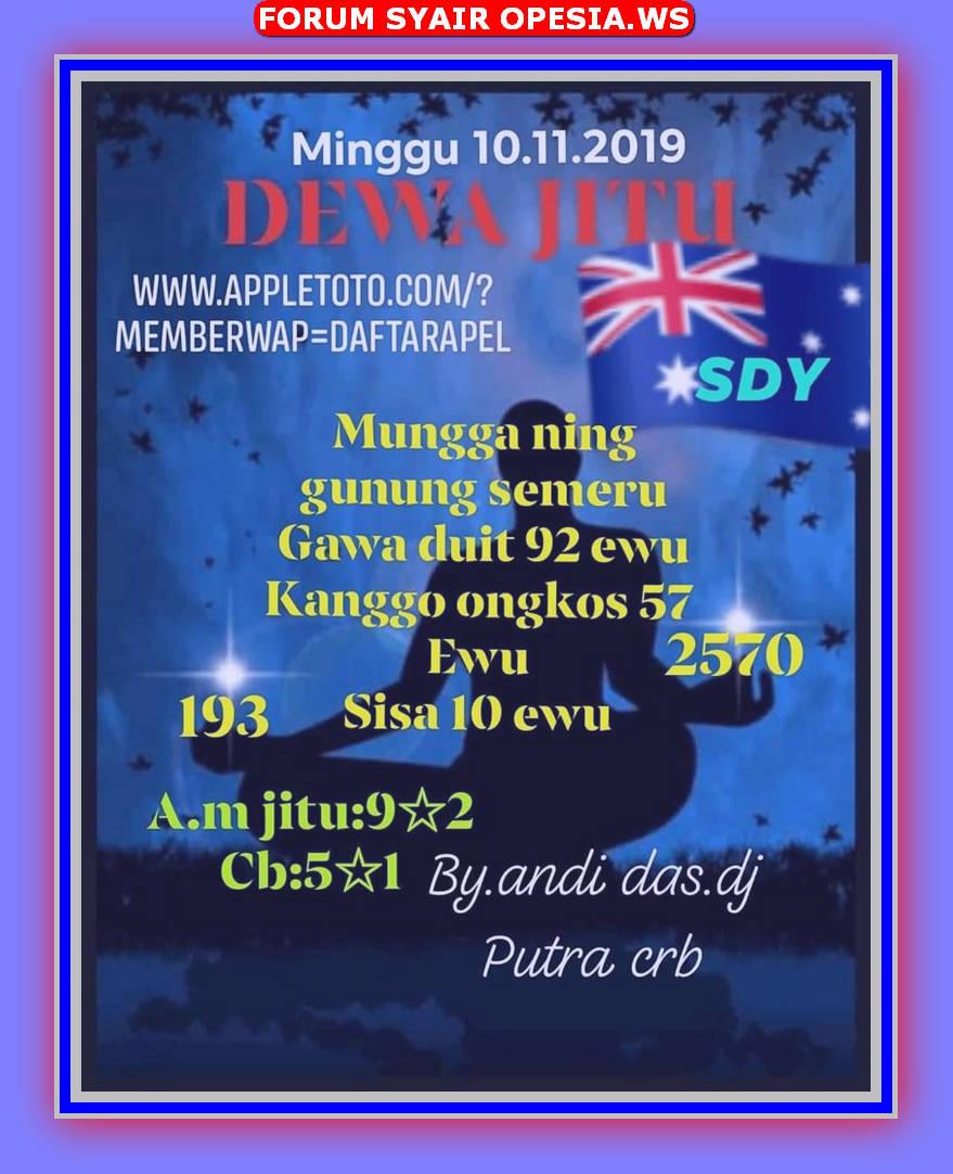 Kode syair Sydney Minggu 10 November 2019 6