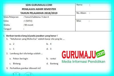 Soal UTS/ PTS Kelas 1 Semester 2 Kurikulum 2013 Revisi 2018