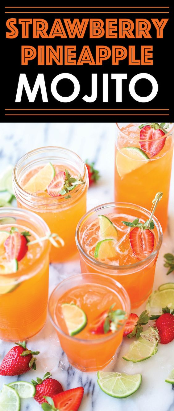 STRAWBERRY PINEAPPLE MOJITO Strawberry Pineapple Mojito  #masonjar #healthy #recipes #greatist #vegetarian #breakfast #brunch  #legumes #chicken #casseroles #tortilla #homemade #popularrcipes #poultry #delicious #pastafoodrecipes  #Easy #Spices #ChopSuey #Soup #Classic #gingerbread #ginger #cake #classic #baking #dessert #recipes #christmas #dessertrecipes #Vegetarian #Food #Fish #Dessert #Lunch #Dinner #SnackRecipes #BeefRecipes #DrinkRecipes #CookbookRecipesEasy #HealthyRecipes #AllRecipes #ChickenRecipes #CookiesRecipes - A fun, sweet tropical twist to everyone's favorite cocktail! And you can easily transform this to a non-alcoholic drink! No wait. Just mojitos. I can skip the pool. The drinks are far more important. I'll just take mine with extra rum.