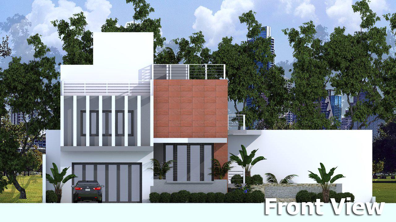 Sketchup modern home plan size 10x16m sam architect for Modern house design sketchup