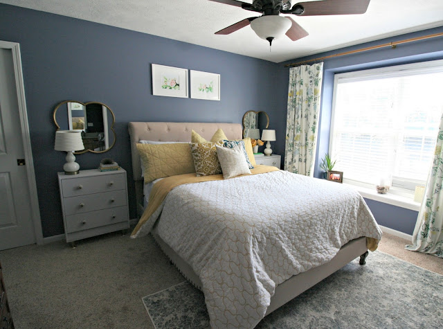 Sherwin Williams distance bedroom update with joss and Main bed and Rugs Expedition Rug