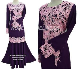 Baju Kurung Moden Lace Warna Ungu Purple