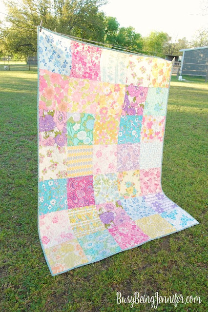 Vintage sheet quilt. Patchwork quilt made with vintage fabrics.