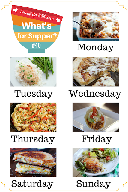 What's for Supper Sunday meal plan featured recipes at Served Up With Love include Crock Pot Chicken Tacos, BBQ Pizza, Creamsicle Fluff, Italian Chicken Bake and more.