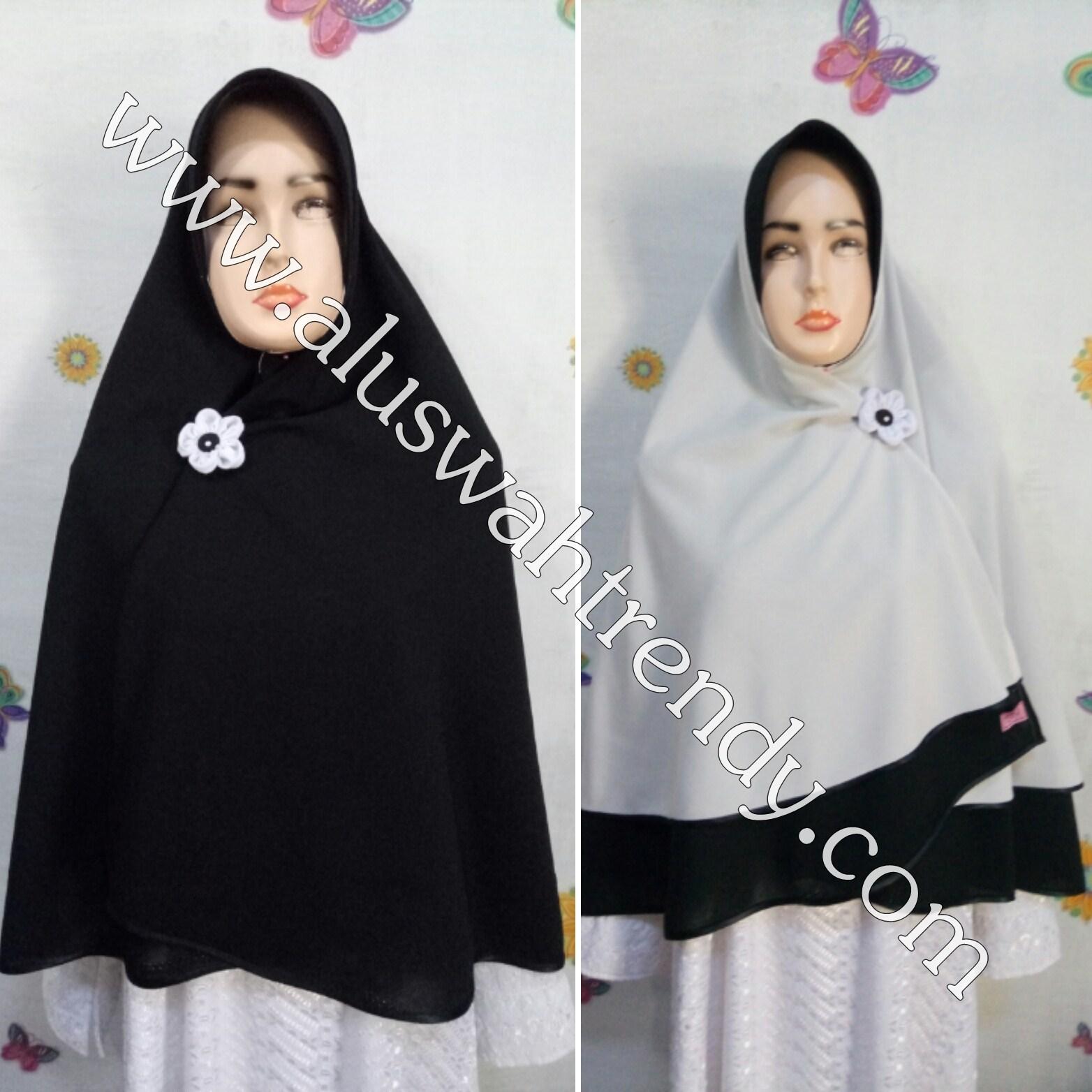 Jilbab Khimar Bolak-Balik Hitam Abu 13