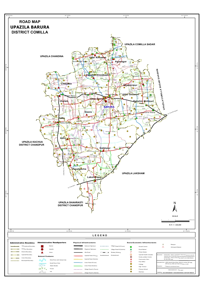 Barura Upazila Road Map Comilla District Bangladesh