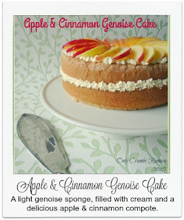 A delicious and light Genoise sponge cake, filled with cream and an apple & cinnamon compote.