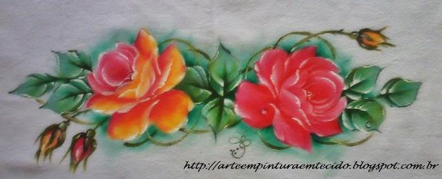 pano de prato pintado com rosa