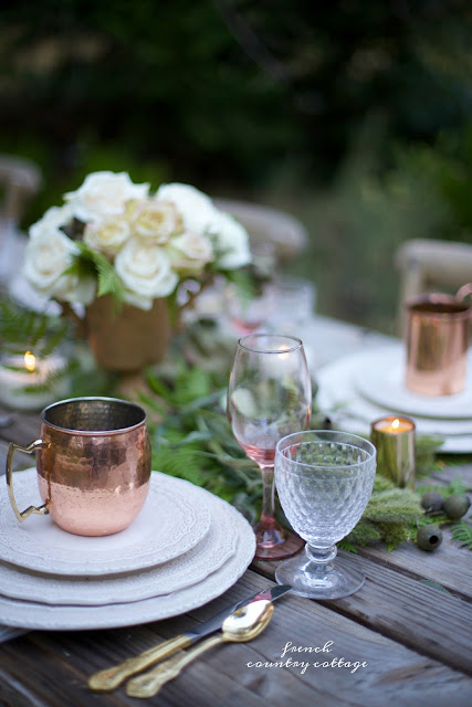 copper, candles and flowers for autumn table
