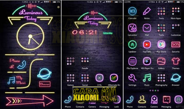 Update Tema Untuk Xaomi MIUI Unik Fluorescent Fire Neon Themes Update New Look