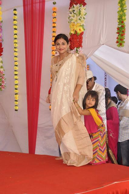 Vidya Balan in White Silk Saree
