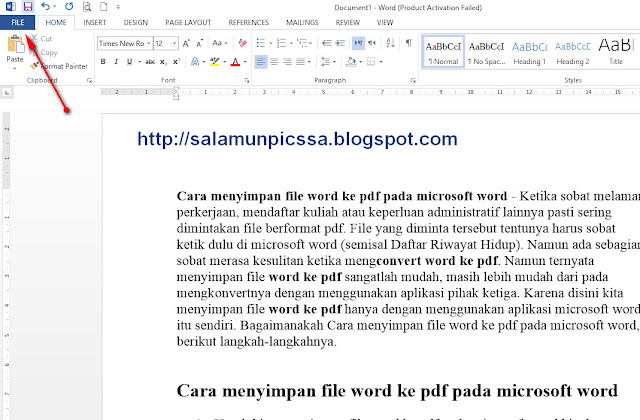Cara Menyimpan File Word ke Format Pdf