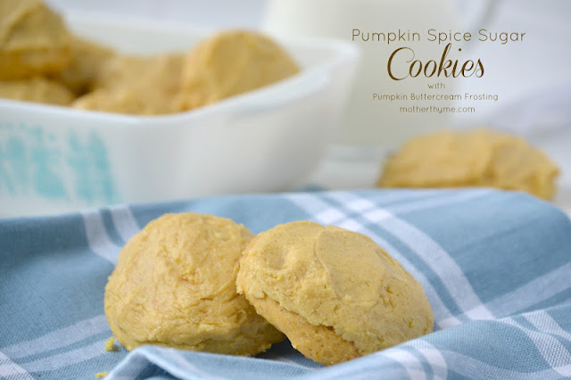 pumpkin spice sugar cookies with pumpkin buttercream frosting