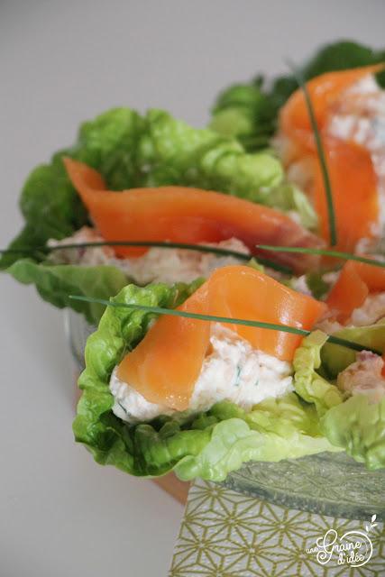 Barquette de Sucrine Salade Fromage Frais St Môret Truite Fumée Echalote Recette Apéritif de Noel Nouvel An Fêtes