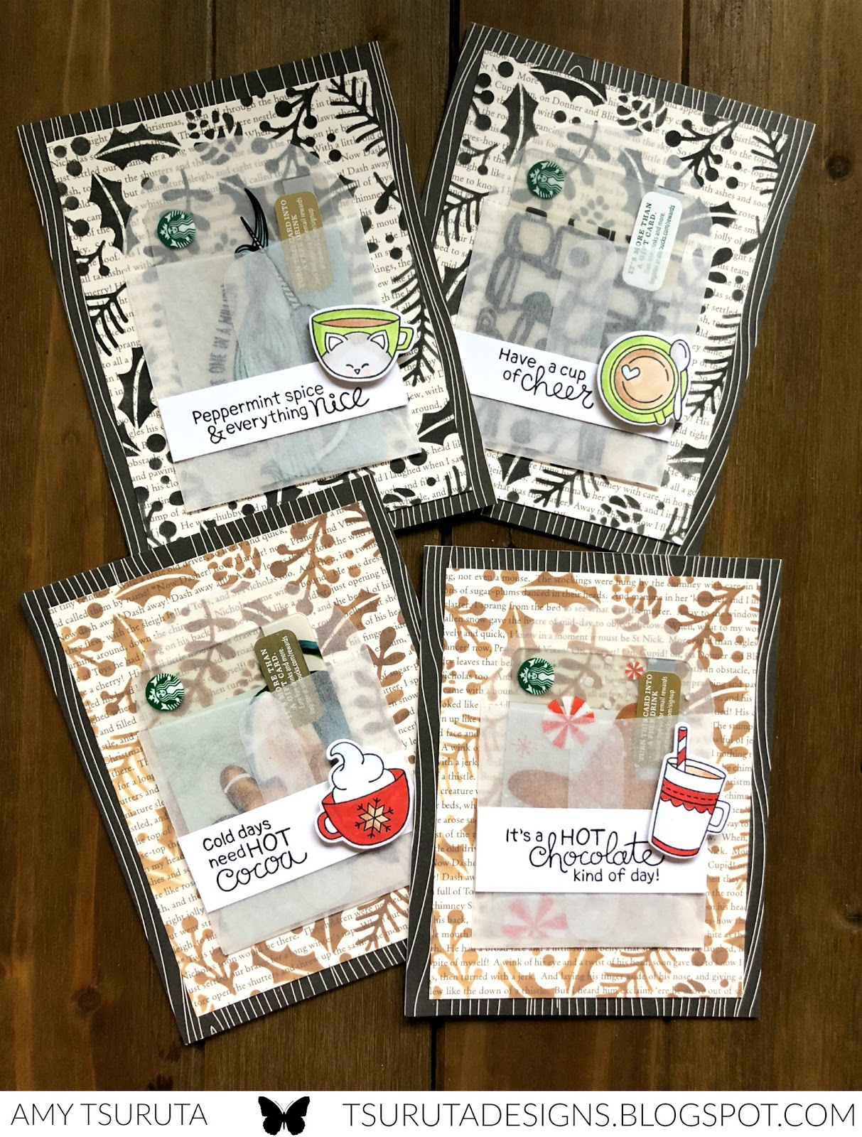 Deck the Halls with Inky Paws Week - Amy Tsuruta | Starbucks Gift Card holders using Cup of Cocoa Stamp set by Newton's Nook Designs #newtonsnook #handmade