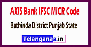 AXIS BANK IFSC MICR Code Bathinda District Punjab State
