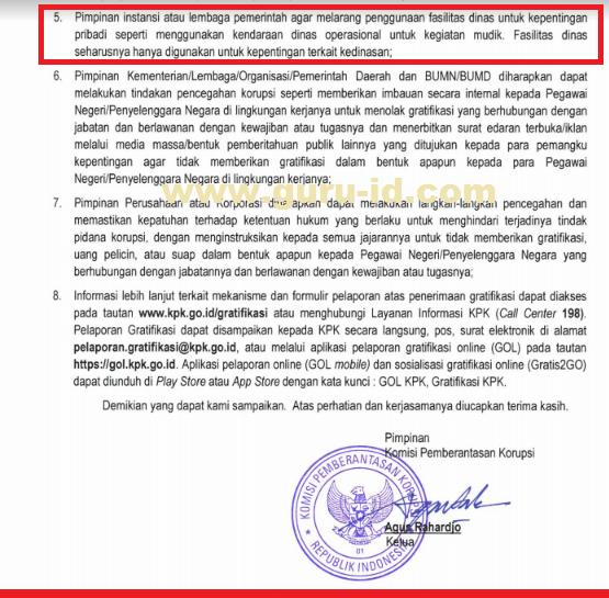 gambar Surat Edaran KPK Untuk PNS Agar Tidak Menggunakan Mobil Dinas Saat Mudik Lebaran