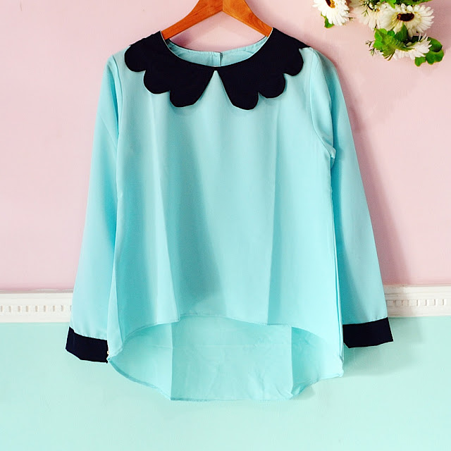 Model Blouse Warna Tosca Import Korea Terbaru 2016