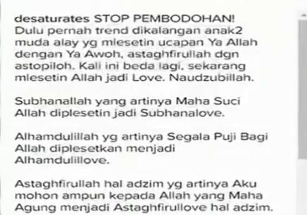 Jangan Gunakan Bahasa Alay Untuk Mengubah Nama Allah Ta'ala