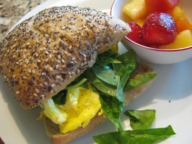 This spinach and egg sandwich is from The Spinach Collection's Easy Breakfast Sandwiches recipe.