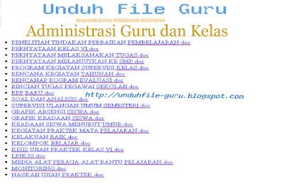 Unduh file Words Kumpulan Administrasi Guru dan Sekolah 2015-2016