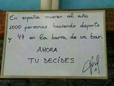 En España mueren al año 1000 personas haciendo deporte y 47 en la barra de un bar, ahora tú decides