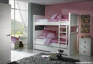 Dormitorios habitaciones juveniles e infantiles lacadas - Literas blancas ...