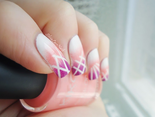Silvia Lace Nails: Sweet tape gradient