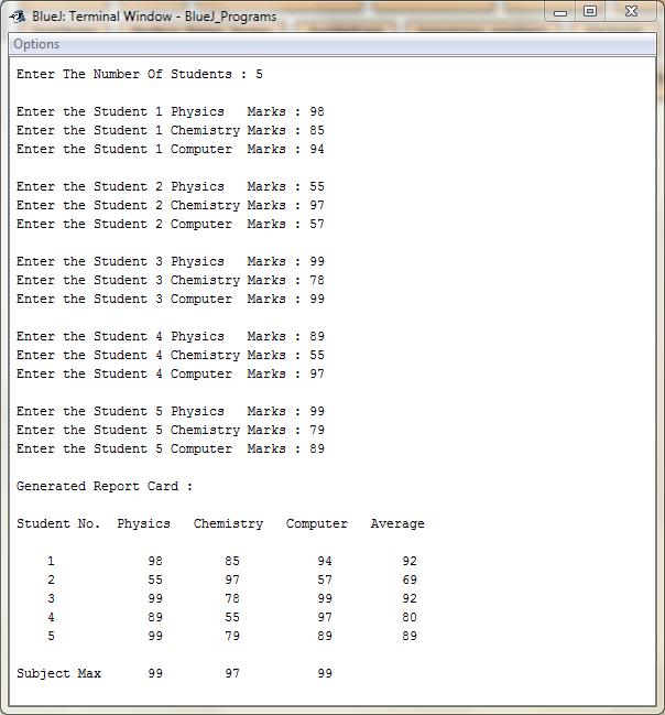 Report Card Program : Java : BlueJ